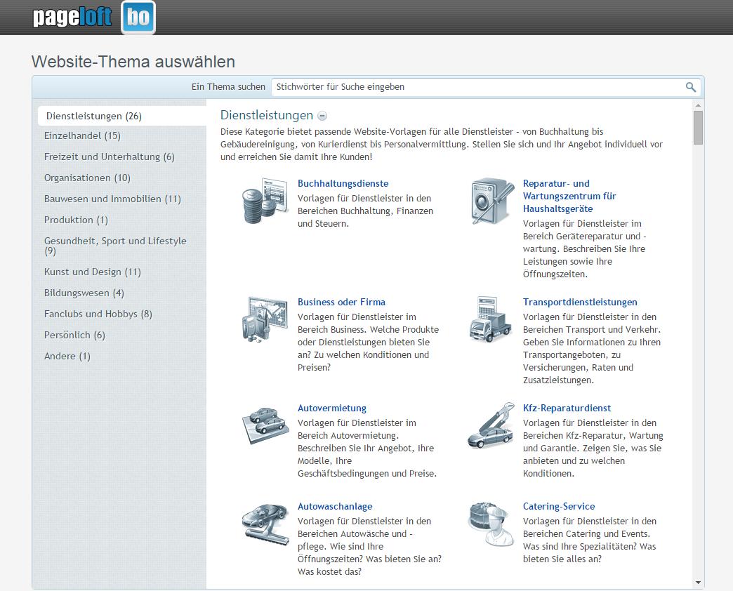 Homepagebaukasten bocombo.de Internet